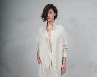 ANAIS latte pure woven linen caftan. Oversized loose fit. ONE SIZE. *Lux collection*