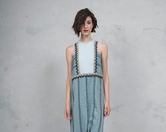 EDEN blue striped. Luxurious striped linen dress with blue cotton lace. Straight cut. *Lux collection*