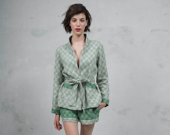 MOSS green sand pure woven linen co-ordinate set. Luxury patterned linen blazer and shorts. *Lux collection*