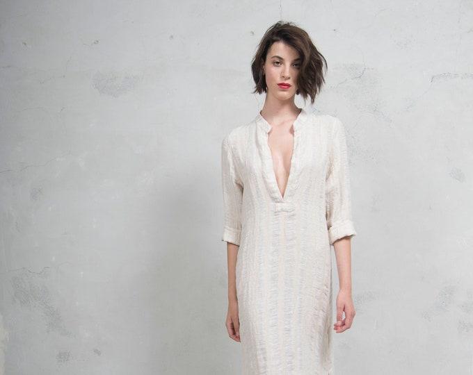 EMMA latte striped woven linen. Quality linen shirtdress. *Lux collection*