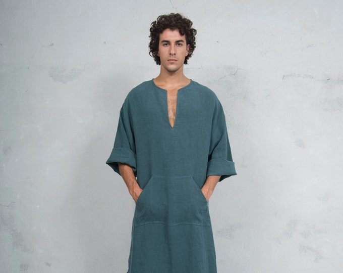 CLASSICO. Mens British Green linen caftan. Front pocket. HOOD OPTIONAL.