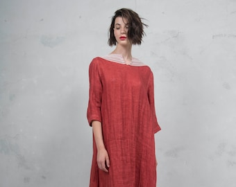 MAROOH scarlet red pure ultra soft linen dress with cotton lace.  ONE SIZE. Quality linen. *Lux collection*