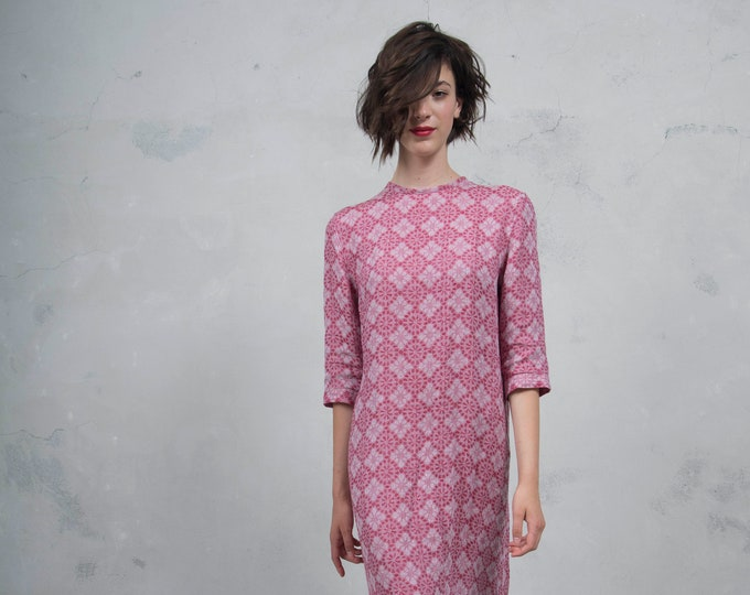 BIANCA cherry red patterned long dress. Luxurious woven linen. Minimal design. Soft feel. *Lux collection*