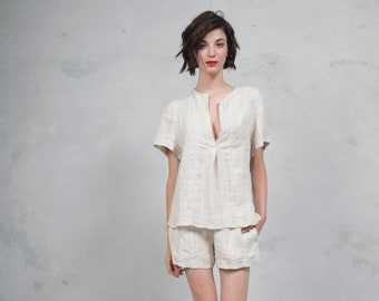 ADA latte striped pure woven linen co-ordinate set. Luxurious linen top and short pants. *Lux collection*