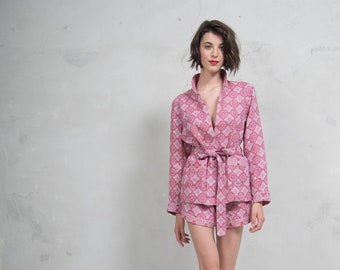 MOSS cherry red pure woven linen co-ordinate set. Luxury patterned linen blazer and shorts. *Lux collection*