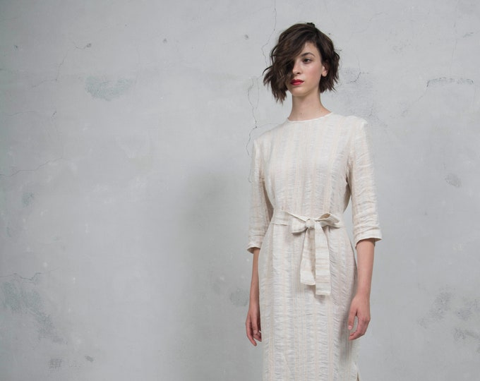 BIANCA latte striped long dress. Luxurious woven linen. Minimal design. Soft feel. *Lux collection*