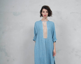 RHEA turquoise pure woven linen caftan. Side pockets. Oversized loose fit. ONE SIZE luxurious patterned linen. *Lux collection*