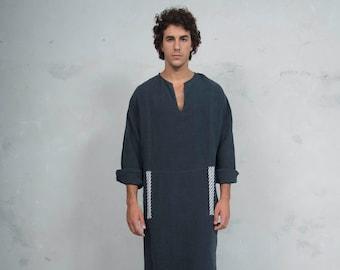 MINOAN. Black, soft pure linen long kaftan for men. Front pocket. Striped linen ribbon.