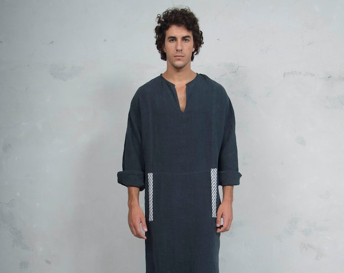 MINOAN. Black, soft pure linen long kaftan for men. Front pocket. Striped linen ribbon.