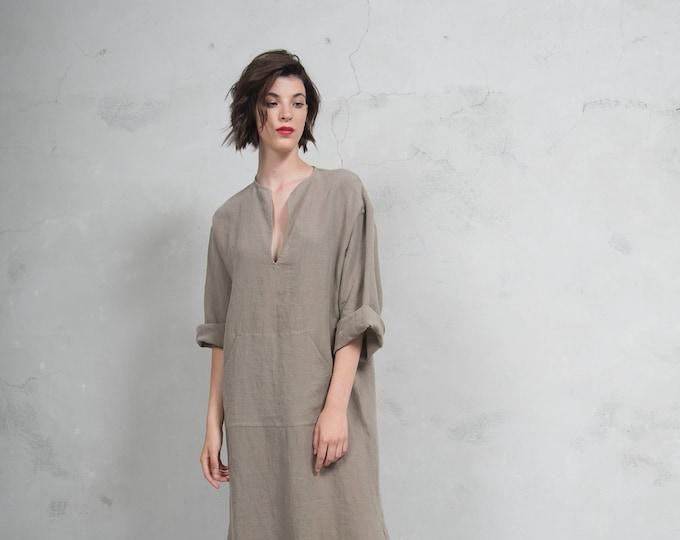 JEFF caftan. Sesame color. Quality pure linen garment with front pocket and optional hood. Unique minimal design.