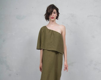 ICON green olive one shoulder linen dress. High quality ultra soft linen fabric *Lux collection*