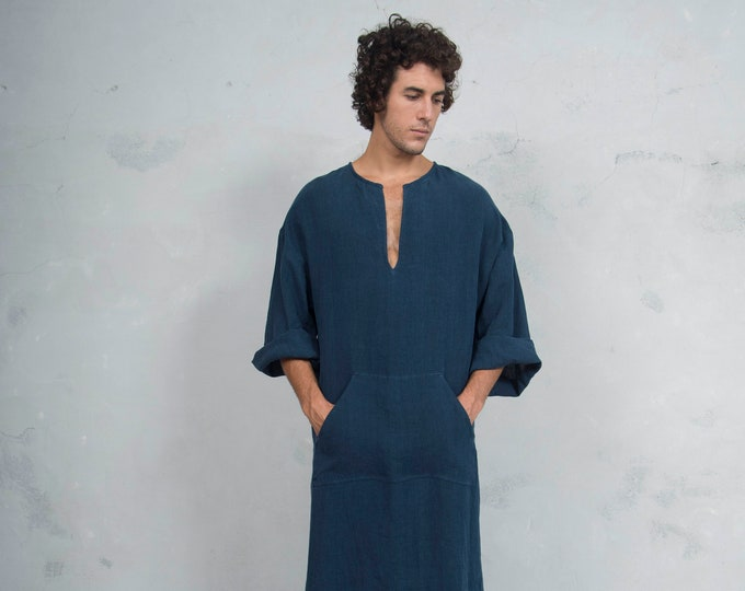 CLASSICO. Mens Navy Blue linen tunic. Front pocket. HOOD OPTIONAL.