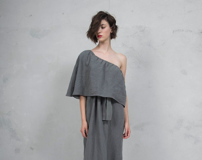 ICON lead grey one shoulder linen dress. High quality ultra soft linen fabric *Lux collection*