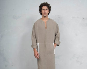MINOAN. Sesame color, soft pure linen long tunic. Front pocket. Striped linen ribbon.