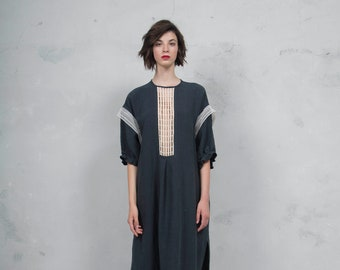 RHEA black pure linen caftan. Side pockets. Oversized loose fit. ONE SIZE. Cotton lace embelishment. *Lux collection*