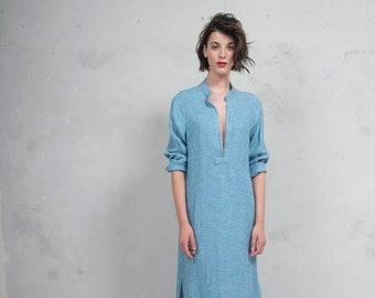 EMMA turquoise woven linen with pattern.  Quality linen shirtdress. *Lux collection*