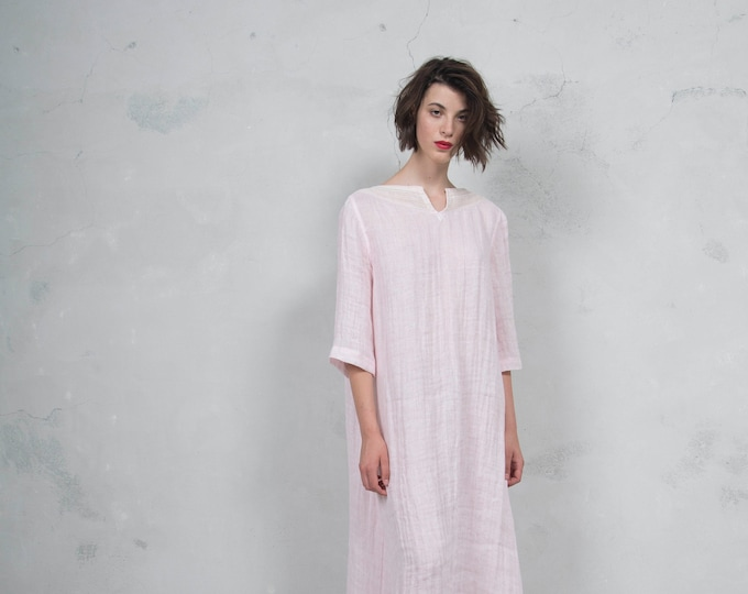 MAROOH pink pure ultra soft linen dress with cotton lace.  ONE SIZE. Quality linen. *Lux collection*
