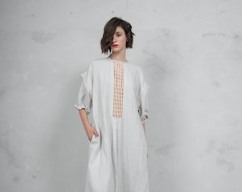 RHEA stone grey linen caftan. Side pockets. Oversized loose fit. ONE SIZE. Cotton lace embelishment. *Lux collection*