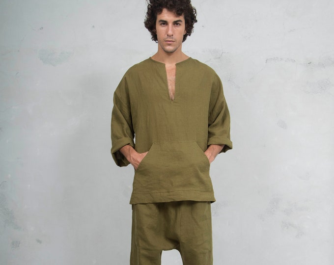 PETRA Green Olive set. Tunic and harem pants. Pure pre washed linen. BUY the SET