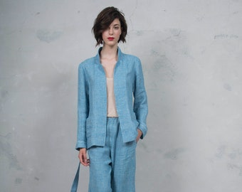 GRACE turquoise pure woven linen trouser suit.Luxury pattern linen trousers and blazer. *Lux collection*
