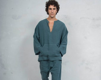 PETRA British Green set. Tunic and harem pants. Pure pre washed linen. Sold also separately.