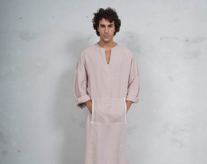 MINOAN. Desert Rose, soft pure linen long kaftan for men. Front pocket. Striped linen ribbon.