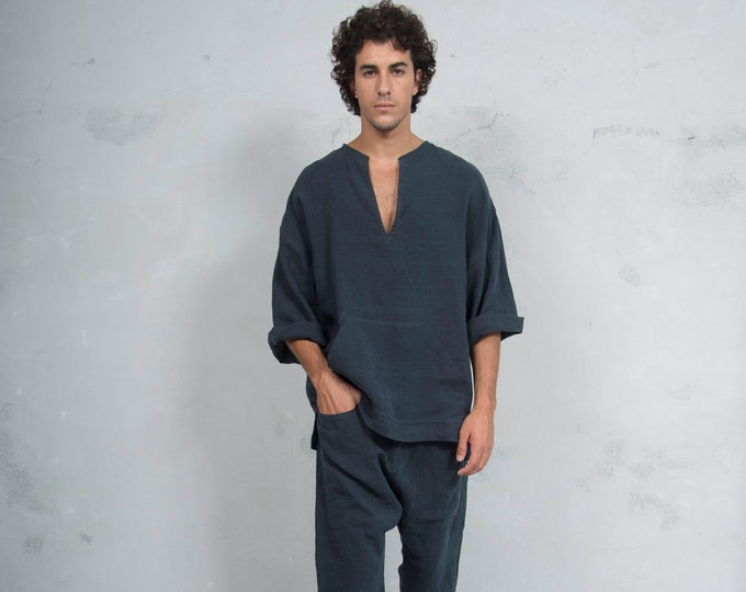 PETRA Black set. Tunic and harem pants. Pure pre washed linen. Sold also separately.