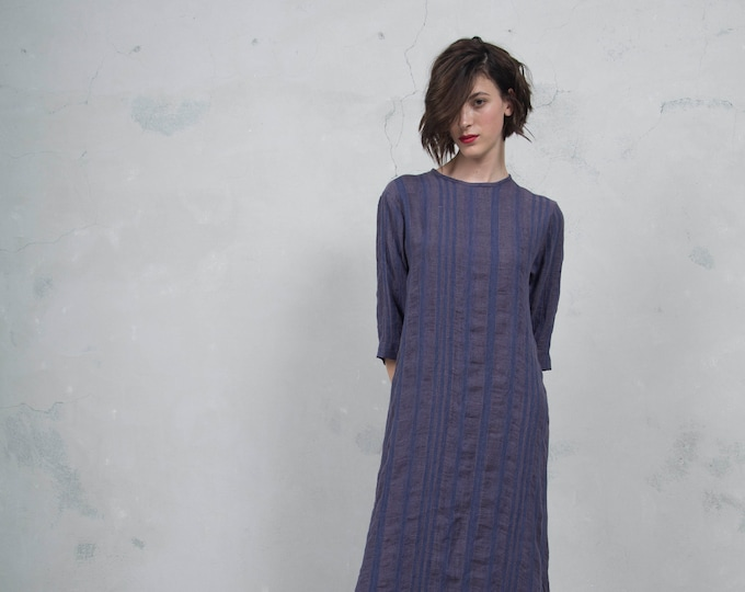 BIANCA purple striped long dress. Luxurious woven linen. Minimal design. Soft feel. *Lux collection*