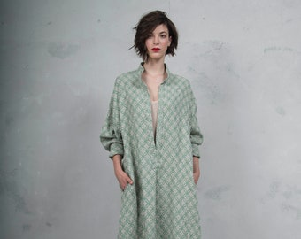 ANAIS green sand woven linen dress with pattern. Oversized loose fit. ONE SIZE long tunic. *Lux collection*