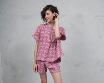 ADA cherry red  pure woven linen co-ordinate set. Luxury patterned linen top and short pants. *Lux collection*