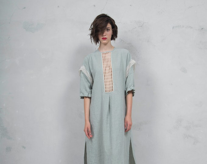 RHEA pistachio linen caftan. Side pockets. Oversized loose fit. ONE SIZE. Cotton lace embelishment. *Lux collection*
