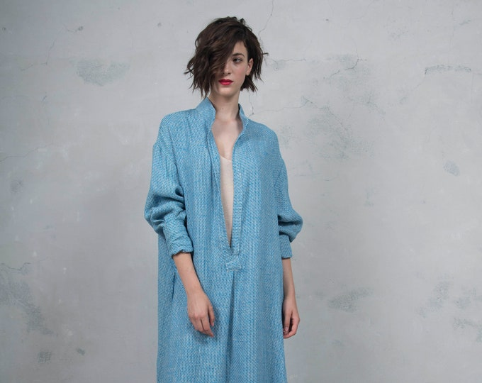 ANAIS turquoise pure woven linen caftan. Oversized loose fit. ONE SIZE luxury linen tunic. *Lux collection*