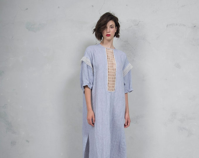 RHEA violet linen caftan. Side pockets. Oversized loose fit. ONE SIZE. Cotton lace embelishment. *Lux collection*