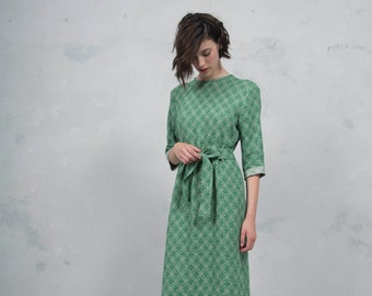 BIANCA emerald green long dress. Luxurious woven patterned linen. Straight cut with belt. Soft feel. *Lux collection*