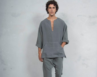 PETRA SET mens Lead Grey . Tunic and harem pants. Pure pre washed linen.