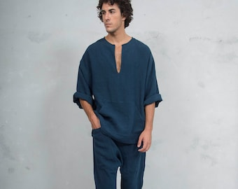 PETRA SET Navy Blue. Tunic and harem pants. Pure pre washed linen.