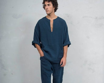 PETRA Navy Blue set. Tunic and harem pants. Pure pre washed linen. Sold also separately.