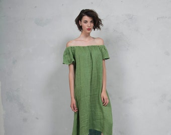 SAVANAH mint green pure ultra soft linen dress.  ONE SIZE. Quality linen. *Lux collection*