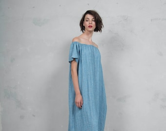 SAVANAH turquoise woven linen with pattern.  ONE SIZE. Quality linen dress. *Lux collection*