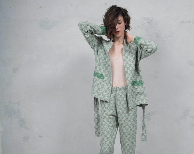 GRACE green sand pure woven linen trouser suit.Luxury pattern linen trousers and blazer. *Lux collection*