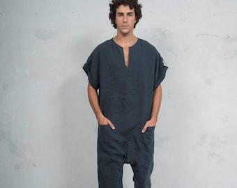 TOKYO SHORT. Mens Black linen jumpsuit. Front pocket. OVERSIZED