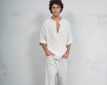 PETRA SET Natural colour. Tunic and harem pants. Pure pre washed linen.