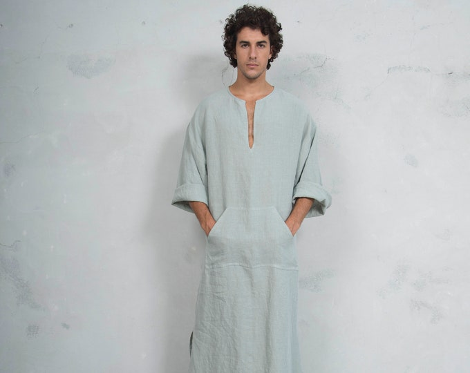 CLASSICO. Pistachio linen Caftan. Front pocket. HOOD OPTIONAL.