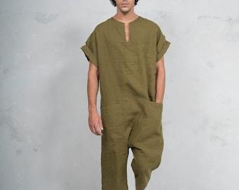 TOKYO SHORT. Mens Green Olive linen jumpsuit. Front pocket. OVERSIZED