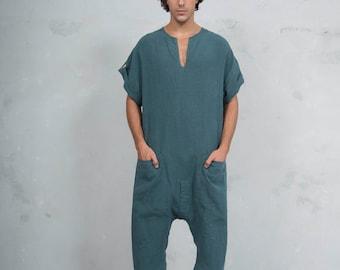 TOKYO SHORT. Mens British Green linen jumpsuit. Front pocket. OVERSIZED