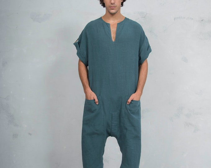 TOKYO SHORT. Mens British Green linen jumpsuit. Front pocket. OVERSIZED