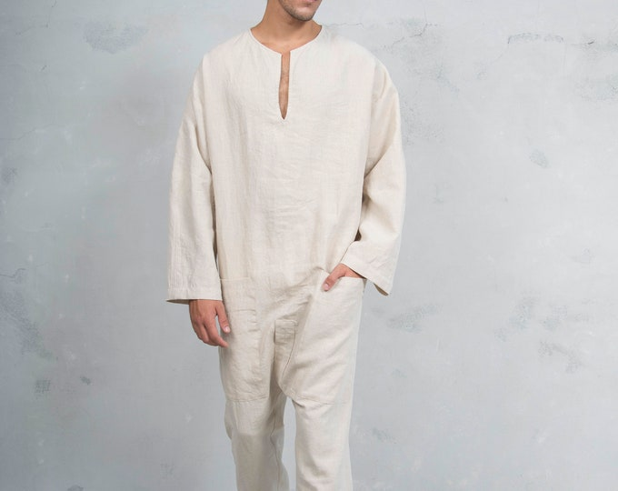 TOKYO LONG. Natural colour Mens  linen overall. Front pockets.OVERSIZED