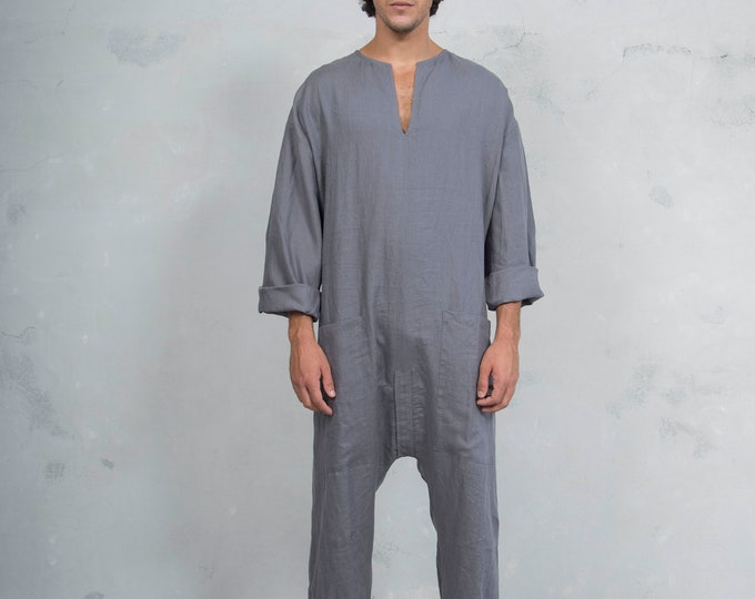 TOKYO LONG. Mens Lead Grey linen overall. Front pockets.OVERSIZED