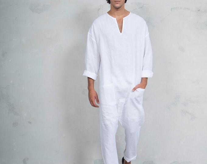 TOKYO LONG. Mens Optic White linen overall. Front pockets.OVERSIZED