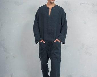 TOKYO LONG. Mens Black linen overall. Front pockets.OVERSIZED